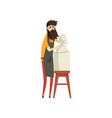 male bearded sculptor working on his sculpture vector image vector image