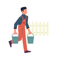 man in garden male character with buckets vector image
