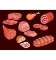 Meat food set Butcher shop elements vector image vector image