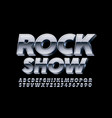 metallic logo rock show with silver 3d font vector image vector image