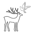 Outlined deer soaring dove set silhouettes vector image vector image