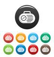 portable radio icons set color vector image