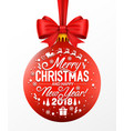 red christmas ball with ribbon and a bow isolated vector image vector image
