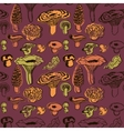seamless pattern with mushrooms and leaves vector image vector image