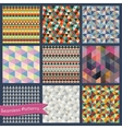 Seamless retro geometric Triangle background set vector image vector image