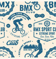 set bmx extreme sport club seamless pattern vector image vector image