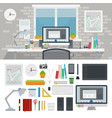 set designer workspace icons flat vector image