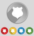 shield icon sign Symbol on five flat buttons vector image