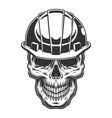 skull in the miner helmet vector image vector image