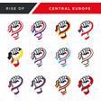 spirit rising fist hand central europe flag vector image