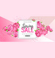 spring sale poster with full blossom flowers vector image