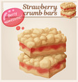 strawberry crumb bars pastry cartoon vector image vector image