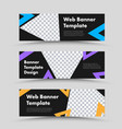 template horizontal black web banners with vector image vector image