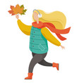 woman running with leaves in autumn park vector image vector image