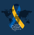 world down syndrome day with ribbon map blue vector image vector image