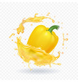 yellow sweet bulgarian bell peppe in juice vector image