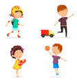 boy with basketball ball and girl with baby doll vector image