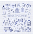Health care set on the notebook sheet vector image