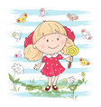 a cute cartoon girl with toy vector image vector image