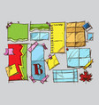 a set of color sketches with a picture of a piece vector image vector image