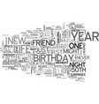 a special th birthday night text word cloud vector image vector image