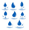 abstract set blue water drop icons on white vector image