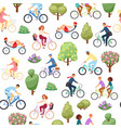 active lifestyle people riding on bicycle seamless vector image vector image
