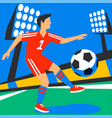 attacking forward football player with football vector image vector image