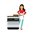 beautiful young brunette woman housewife cooking vector image vector image