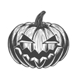Black and white hand drawn halloween pumpkin vector image