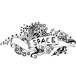 Black and white space doodle vector image