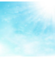 blue sky and clouds with sun burst and rays vector image
