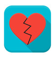 Broken heart app icon with long shadow vector image