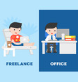 businessman in office and freelancer on beach vector image vector image