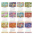 calendar grid for 2018 with eastern ornament vector image