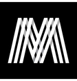 Capital letter M Made of three white stripes vector image vector image