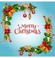 christmas tree holly berry garland frame design vector image