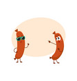 couple of funny sausage characters in sunglasses vector image vector image