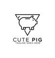 cute pig line art logo design best for animal vector image vector image