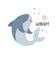 cute shark design poster with adorable character vector image vector image