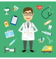 doctor surrounded medical icons vector image vector image