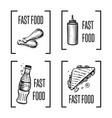 fast food hand drawn symbol set vector image vector image
