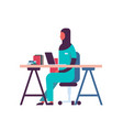 female arabic scientist working laboratory doing vector image vector image