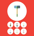 flat icon cleaner set of broomstick sweep vector image vector image