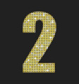 gold sequins number - two glitter font vector image