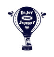happy man traveling by hot air balloon vector image vector image