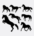 Horse jumping running walking action silhouette vector image vector image