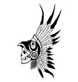 indian skull with headdress feathers the vector image vector image