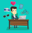 man shopping online vector image vector image