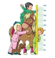 Meter wall with children and a pony vector image vector image
